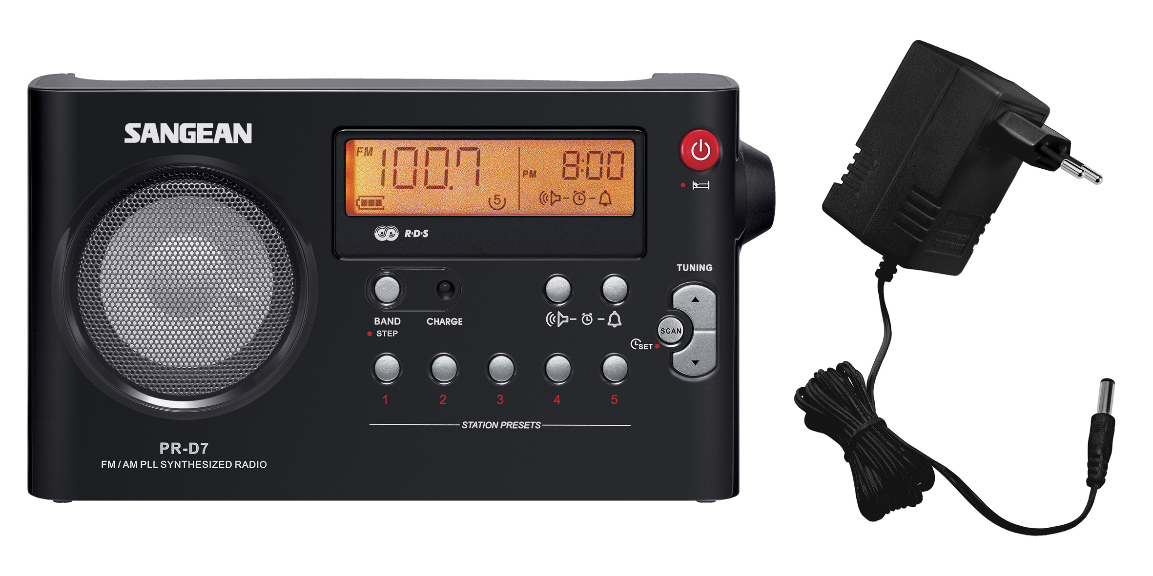 PR-D7, portable radio, incl. adaptor, black