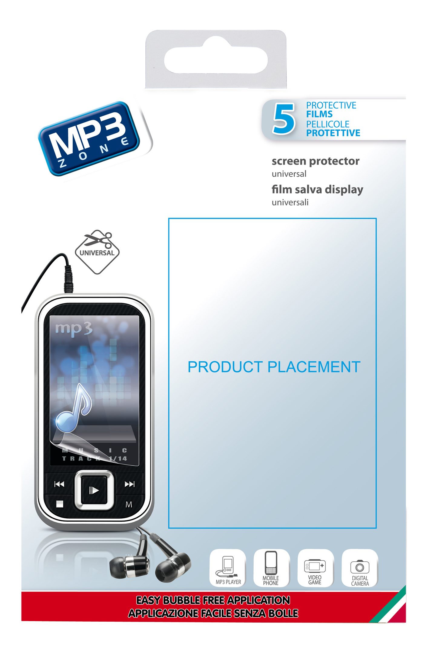 Screen protector universal, mp3, transparent