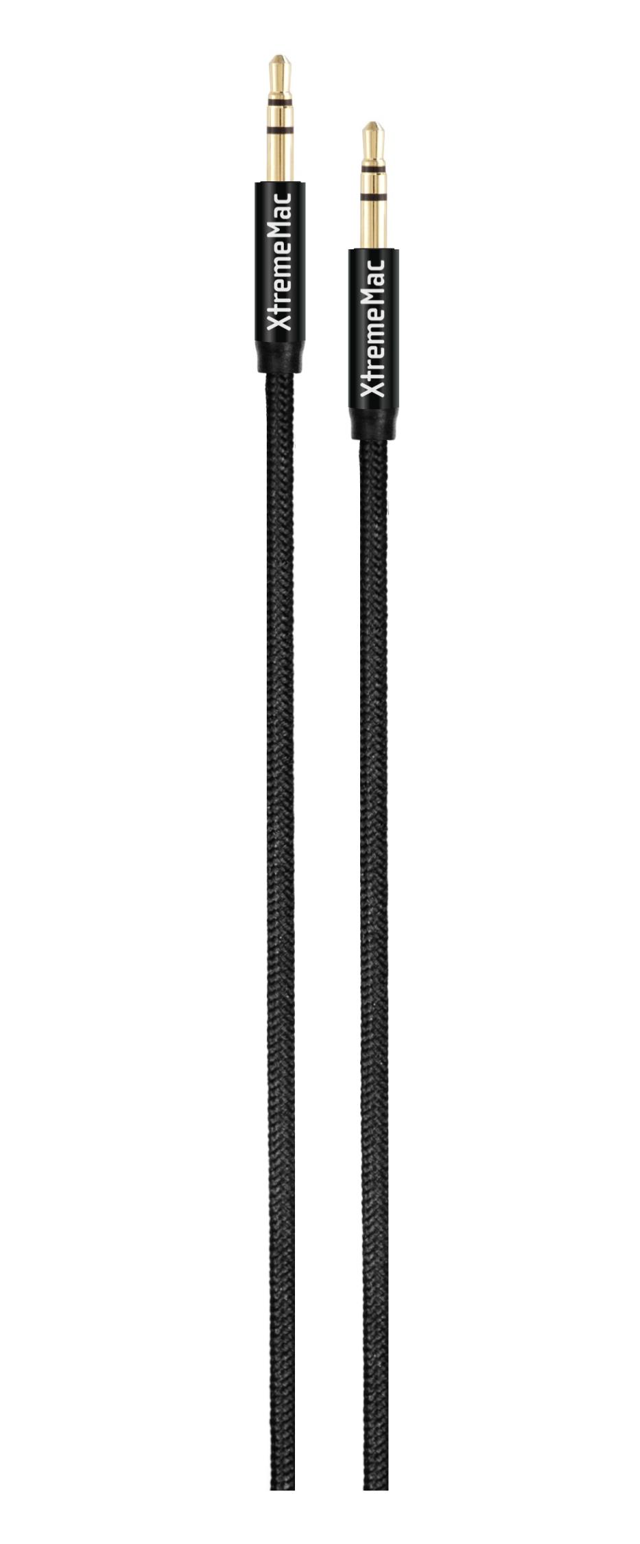Aux cable, nylon, super resistant, 1,5m, black