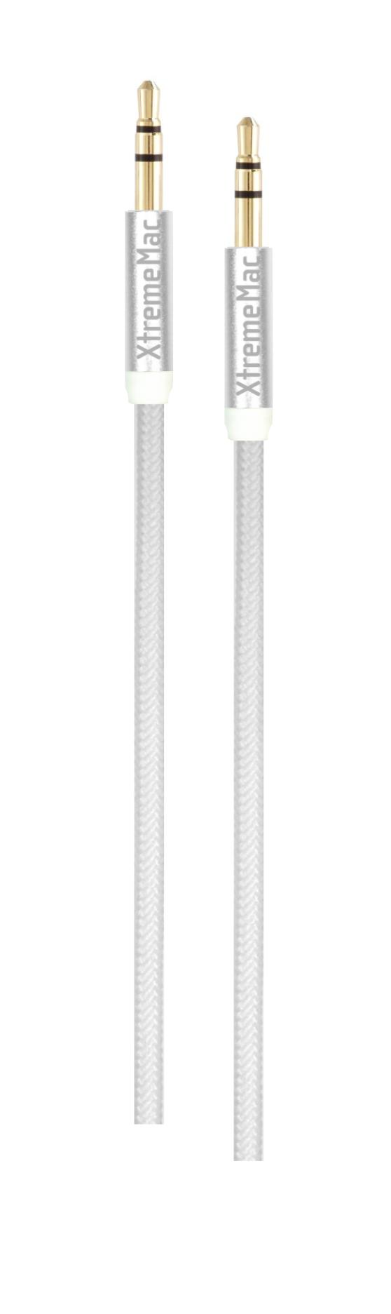 Aux cable, nylon, super resistant, 1,5m, white