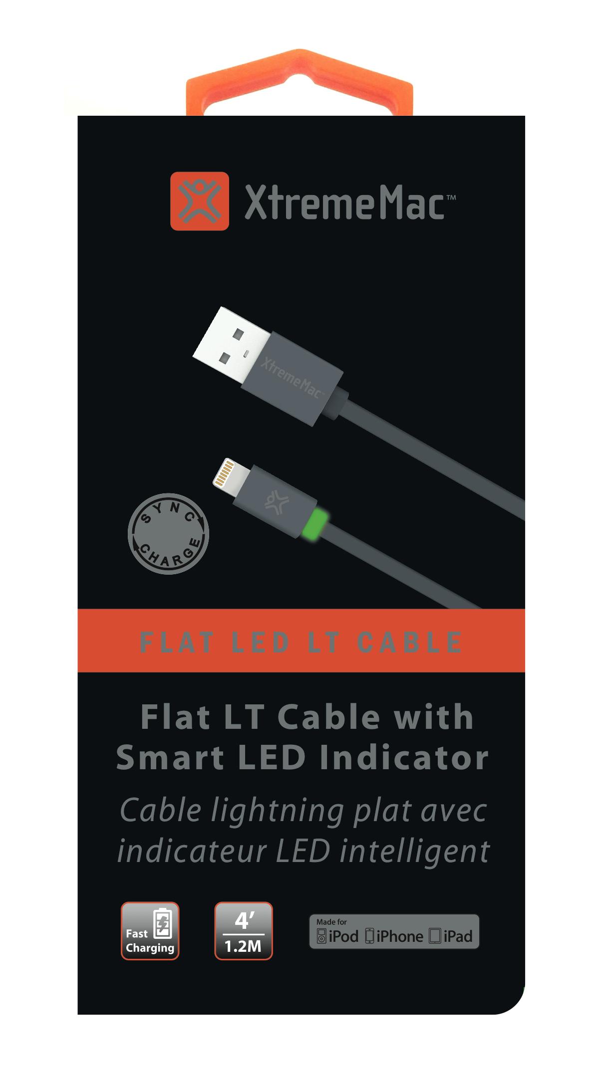 Data cable premium, Apple lightning (1,2m), TPU, flat, led, grey