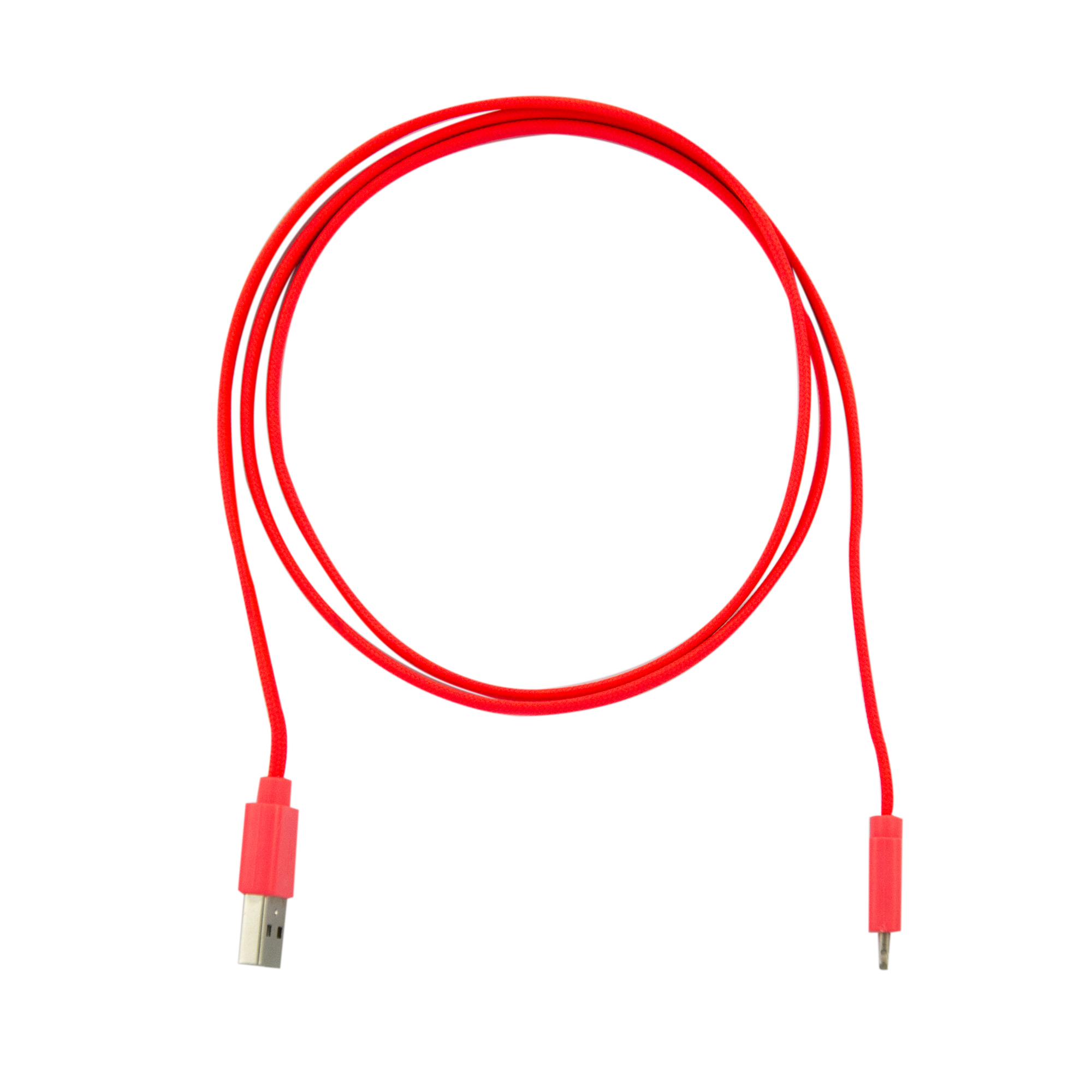 Data cable, Apple lightning (1m), nylon, flat, red