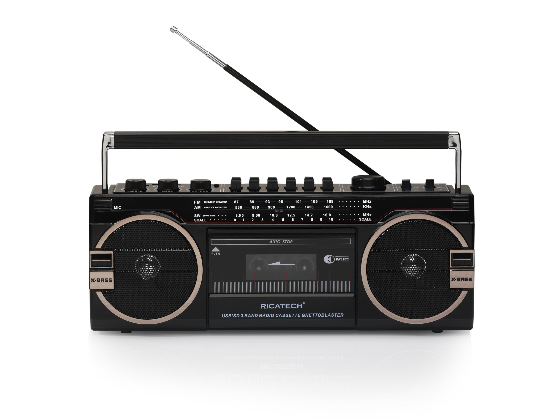 PR1980, Ghettoblaster 80's radio Cass.USB SD 2x8W