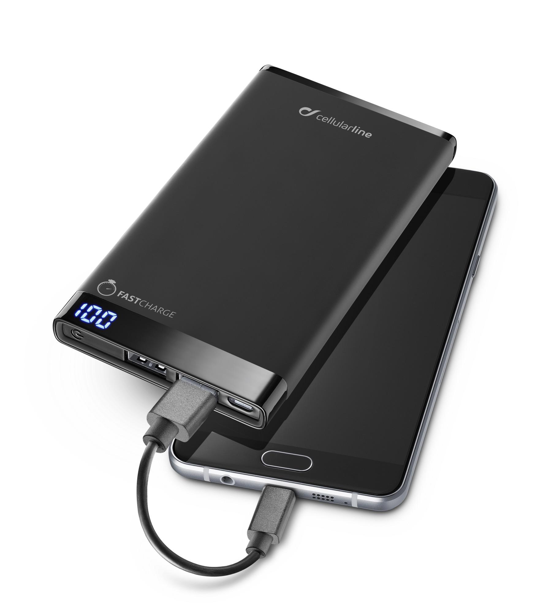 Portable charger dual usb, free power manta, 6000mAh, slim, black