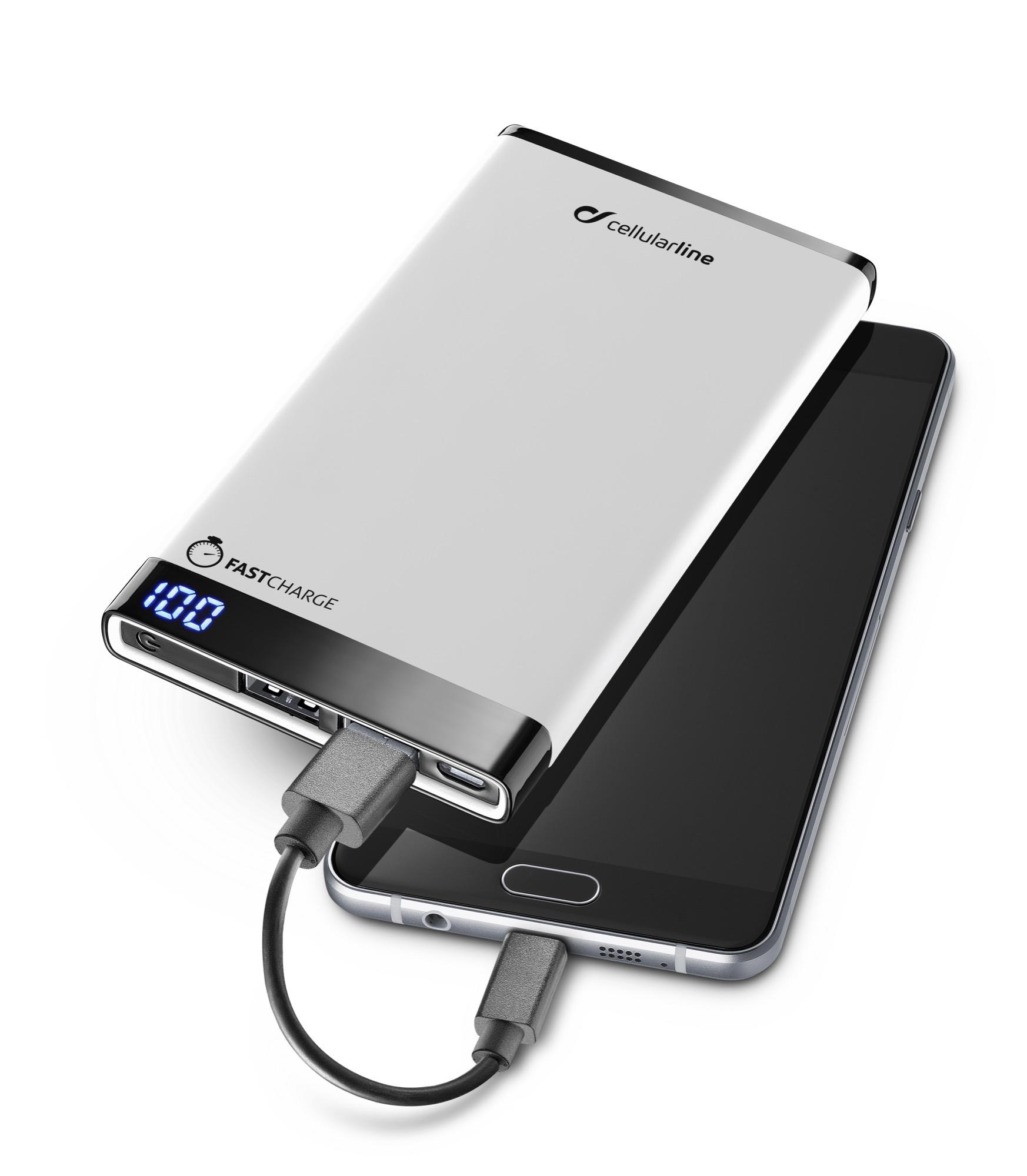 Portable charger dual usb, free power manta, 6000mAh, slim, white