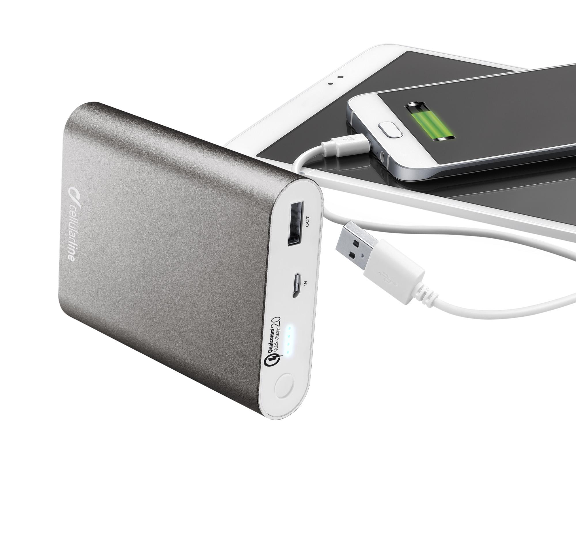 Portable charger dual usb, free power 10.000mAh, Qualcomm 2.0, black
