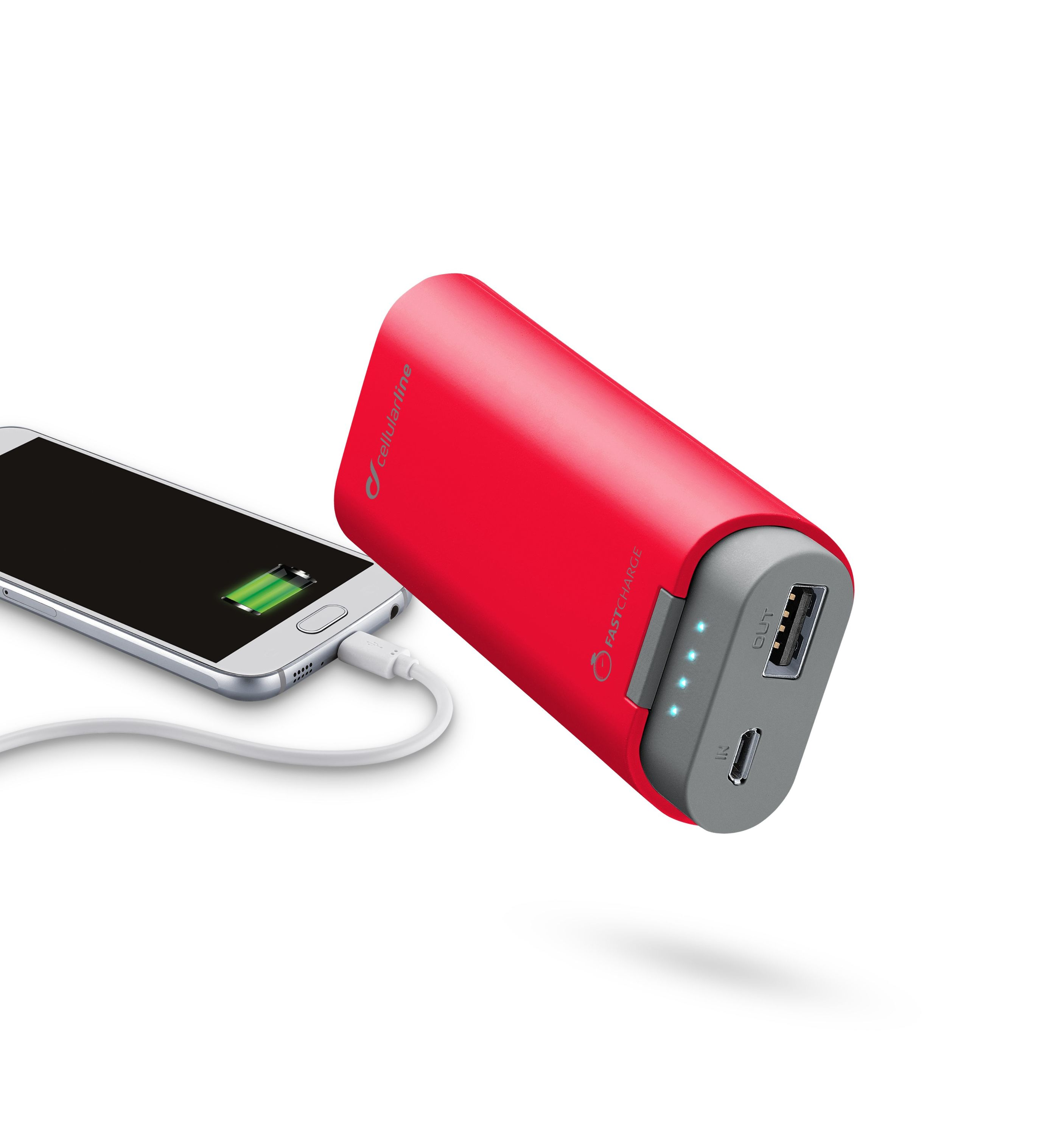 Portable charger, free power dual, 5200mAh, red
