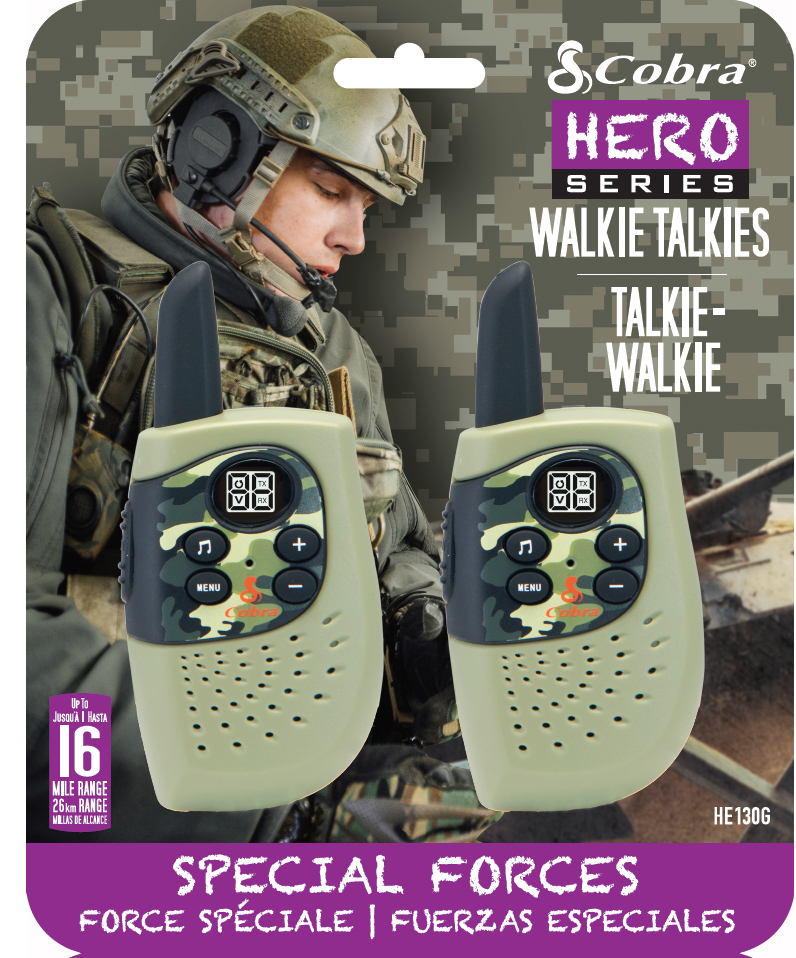 HM230G, walkie talkie, Hero Special forces, 2-pack, green