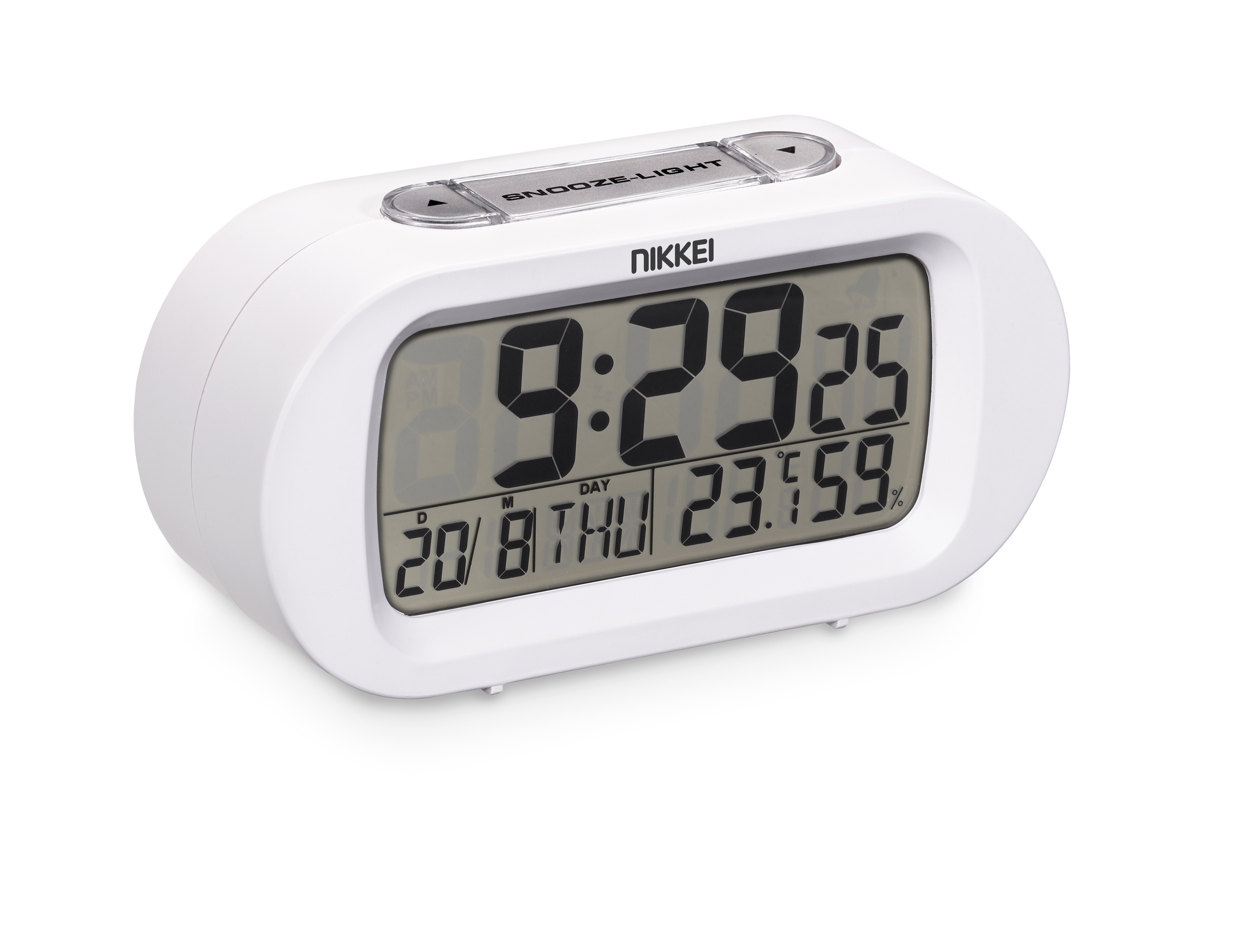 Nikkei NR05WE Alarmclock LCD digital - Snooze, �C/�F, Calender, white