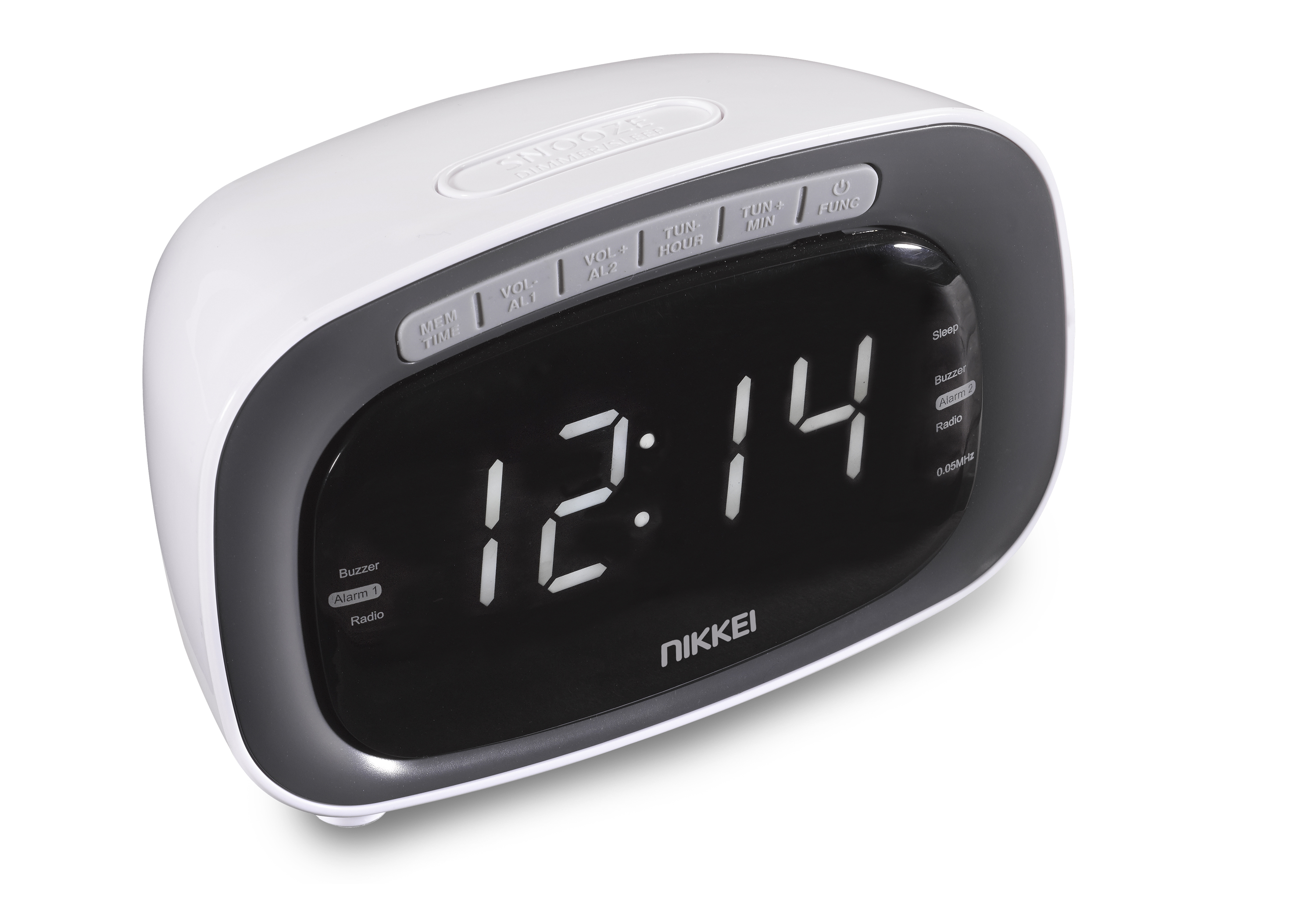 Nikkei NR200WE clockradio LED displ. dig. FM, 20 presets, snooze, white