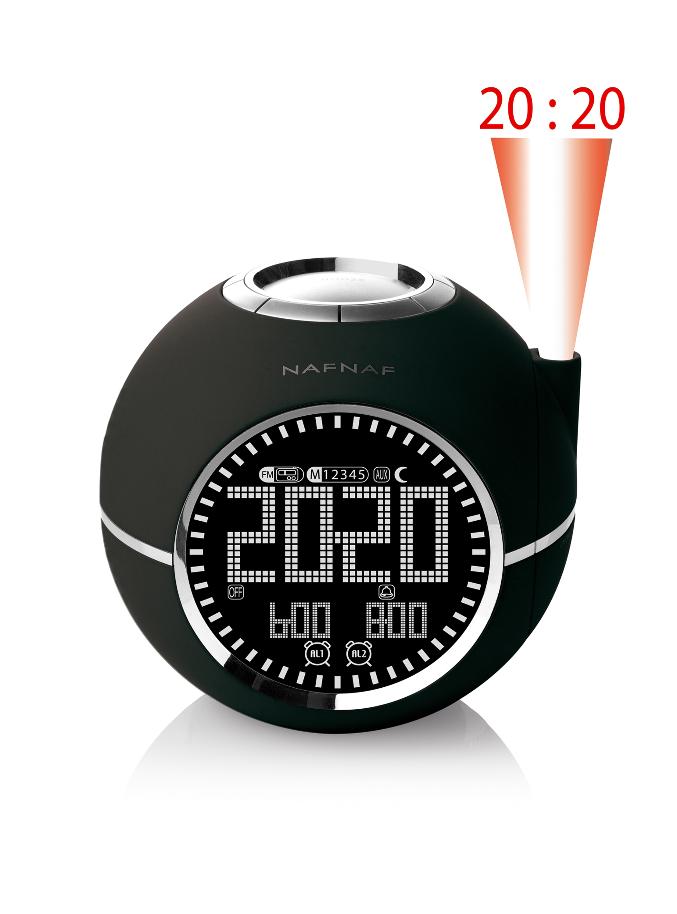 Clockine, clockradio FM time projection, black