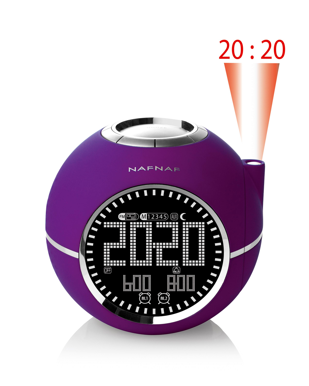 Clockine, clockradio FM time projection, purple