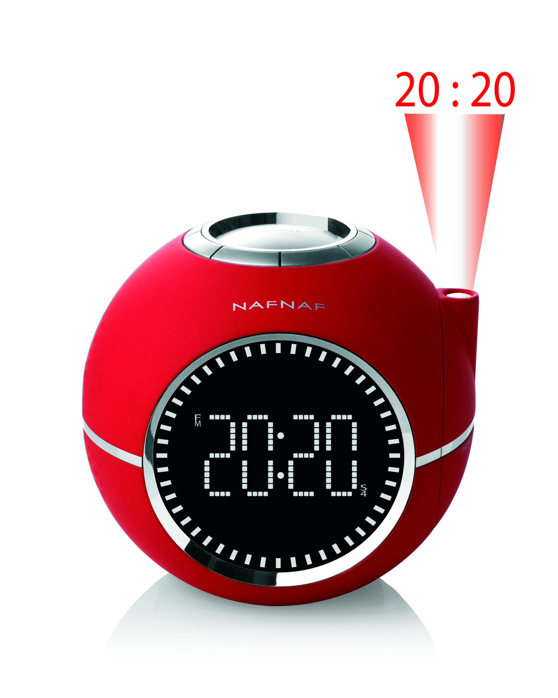 Clockine, clockradio FM time projection, red