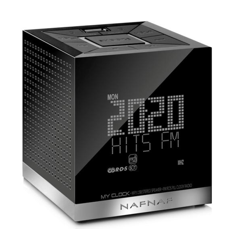My Clock v3, clockradio & portable LS FM USB, black