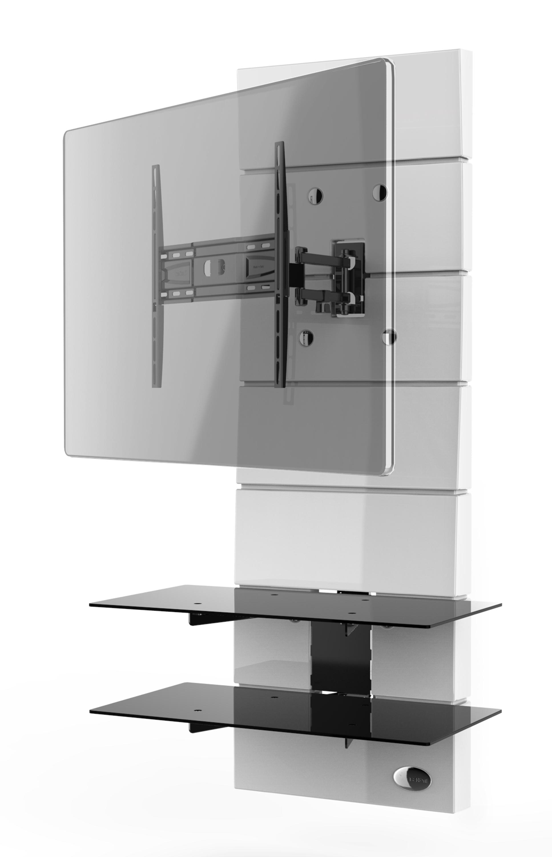 Ghost design 3000, wall cabinet double arm bracket multiple VESA, white