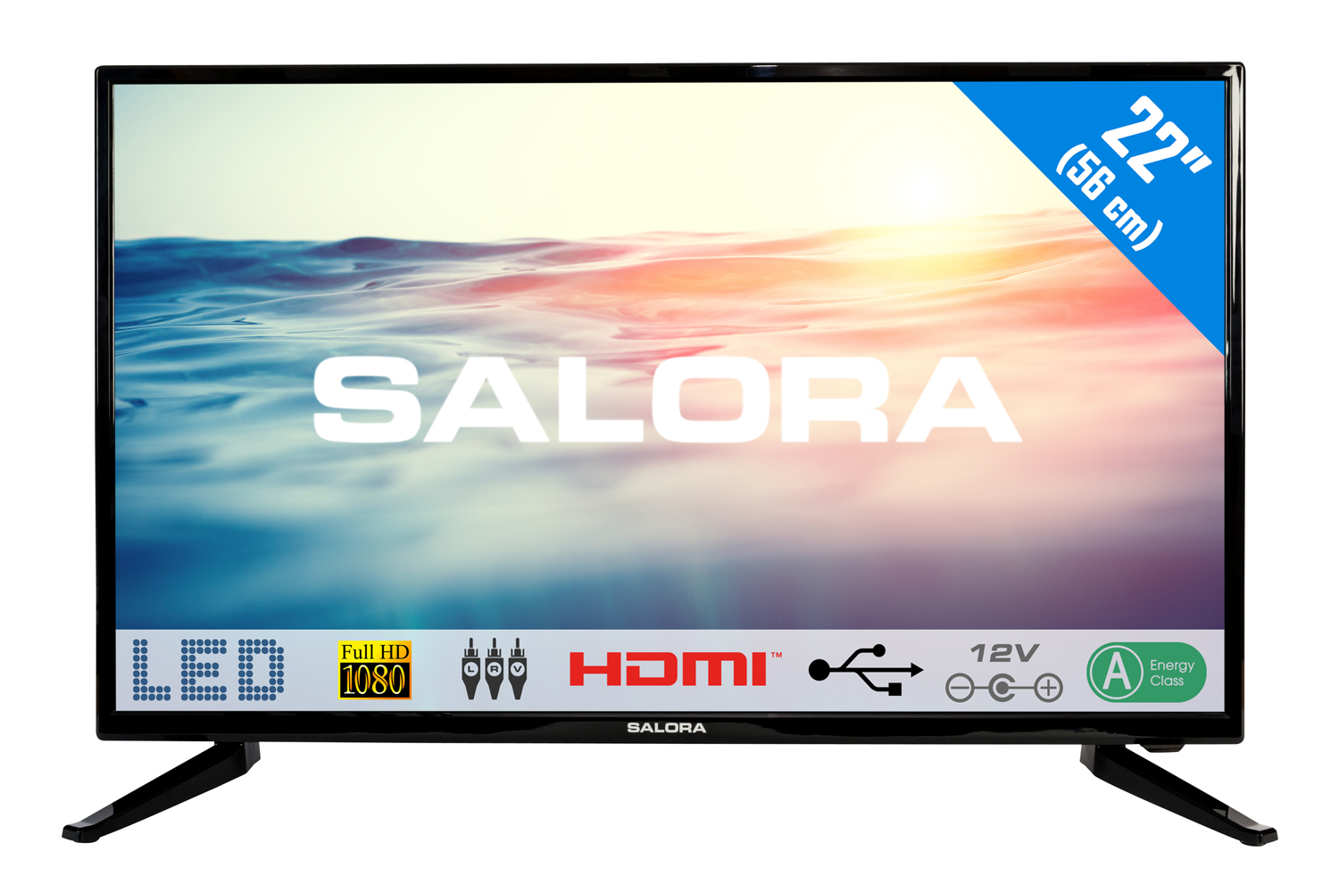 22LED1600, 22''/55,88cm  LED TV, FULL HD 12v usb-mediaplayer HDMI scart analog tuner a