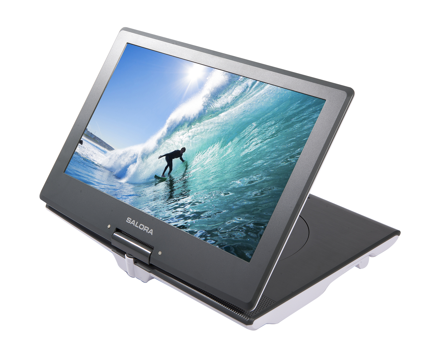 "DVP1400, portable 14""36cm swivel screen DVD player, usb/sd 2hrs battery"