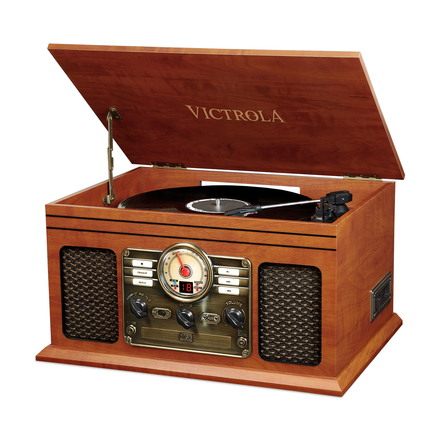 VTA-200B-MAH, 6-in-1 wooden centry record player, 3-speed, mahogany