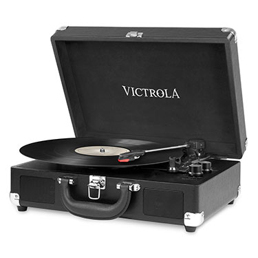 VSC-550BT-BLK, suitcase record player 3-speed stereo speakers, black