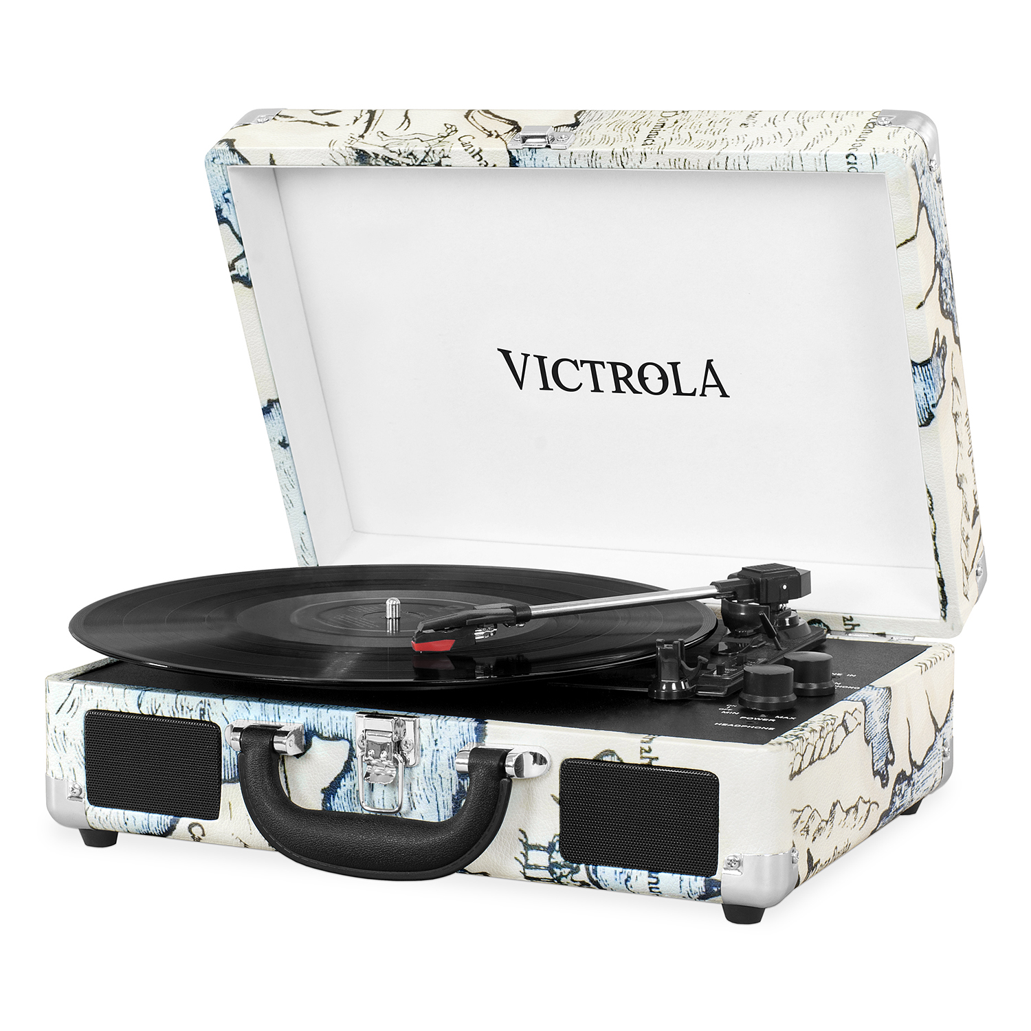 VSC-550BT-P4, suitcase record player 3-speed stereo speakers, BT,immit. leather, map print