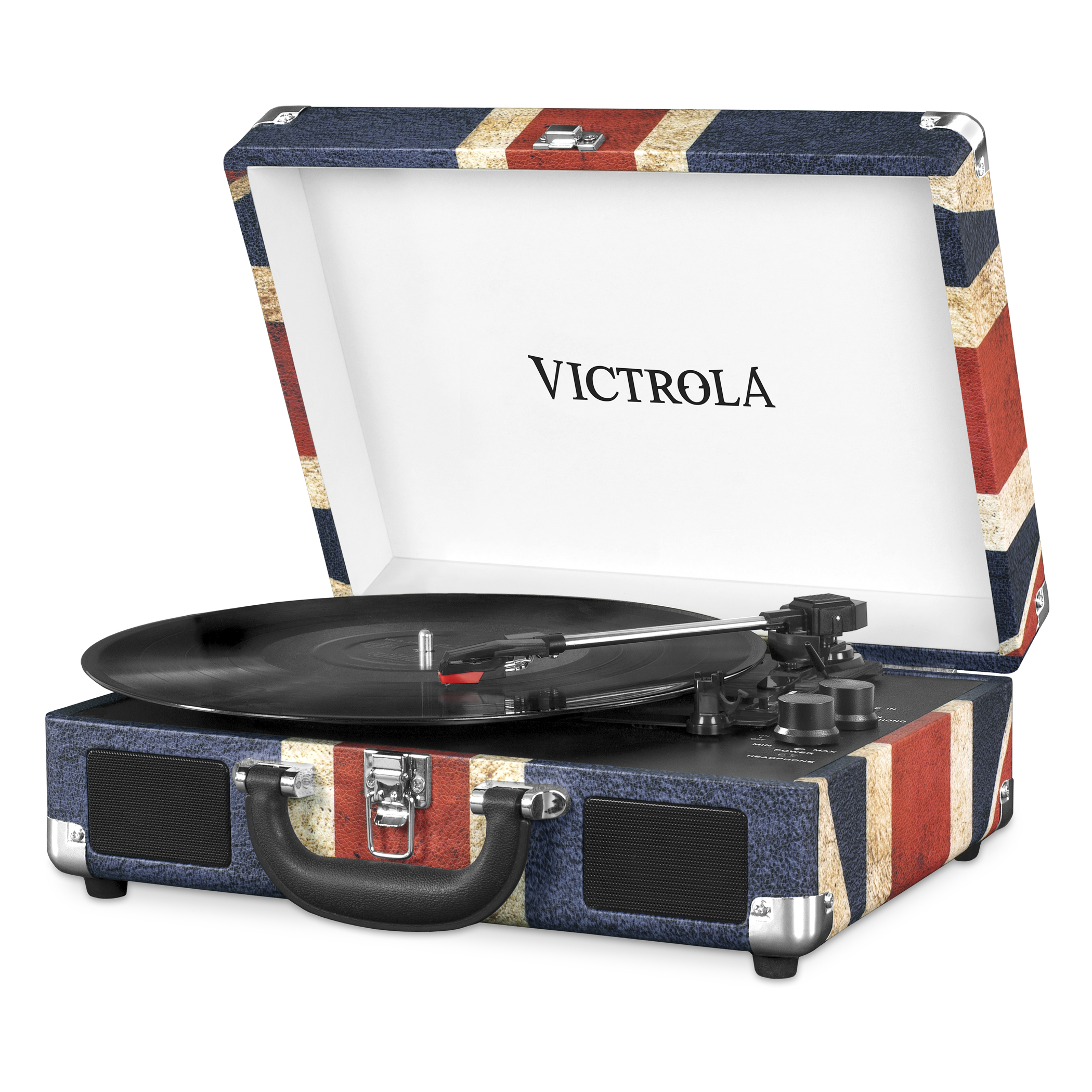 VSC-550BT-UK, suitcase record player 3-speed stereo speakers, BT,immit. leather, UK-flag