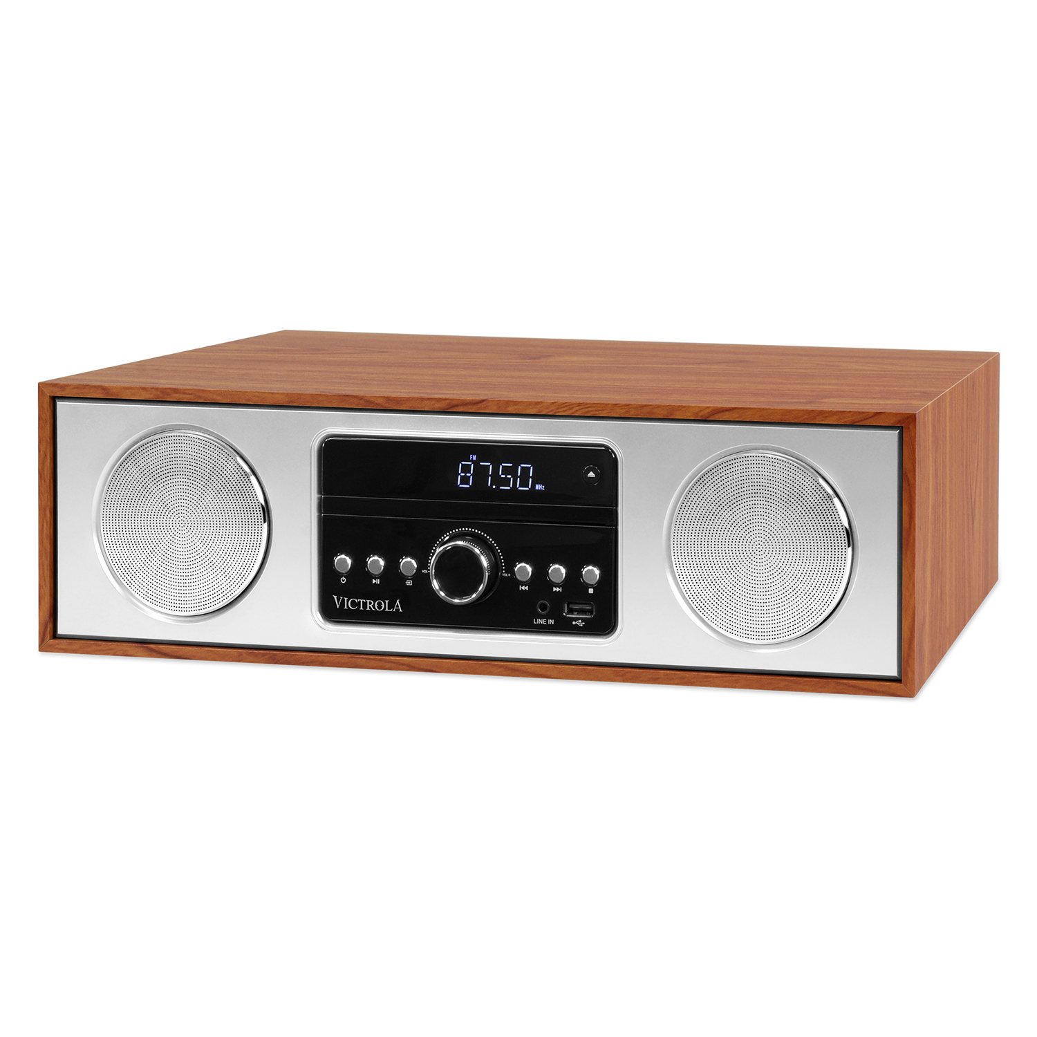 VS-120-MLP, 30 watt wooden microsystem, wood/alu, FM radio, CD, USB, BT, mahogany