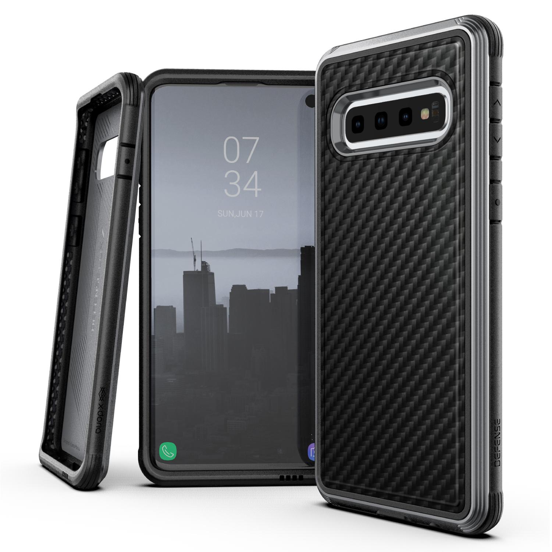 Samsung Galaxy S10, case Defense Lux, black carbon fiber