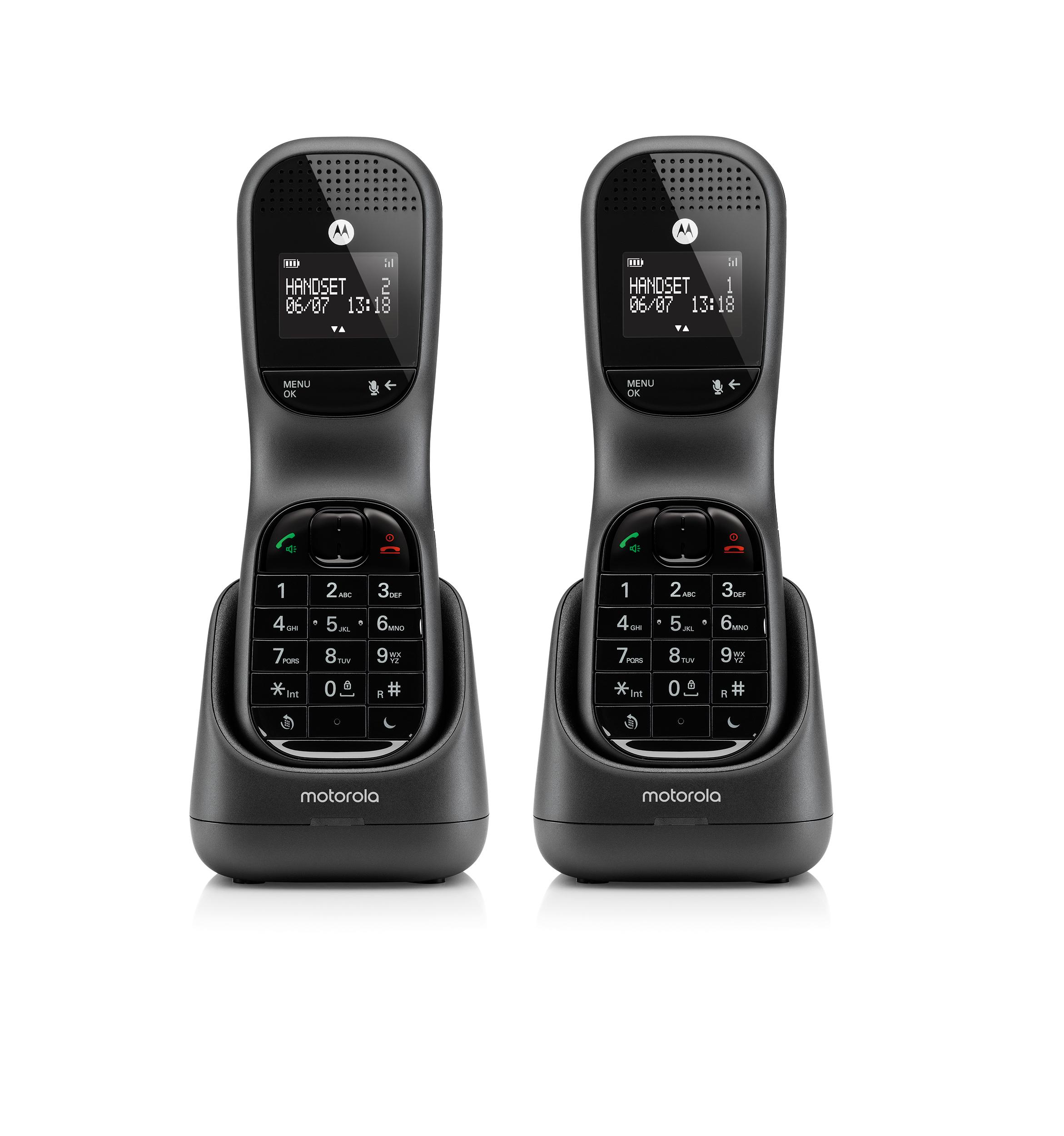 TD1002, dect comfort dual handset, black