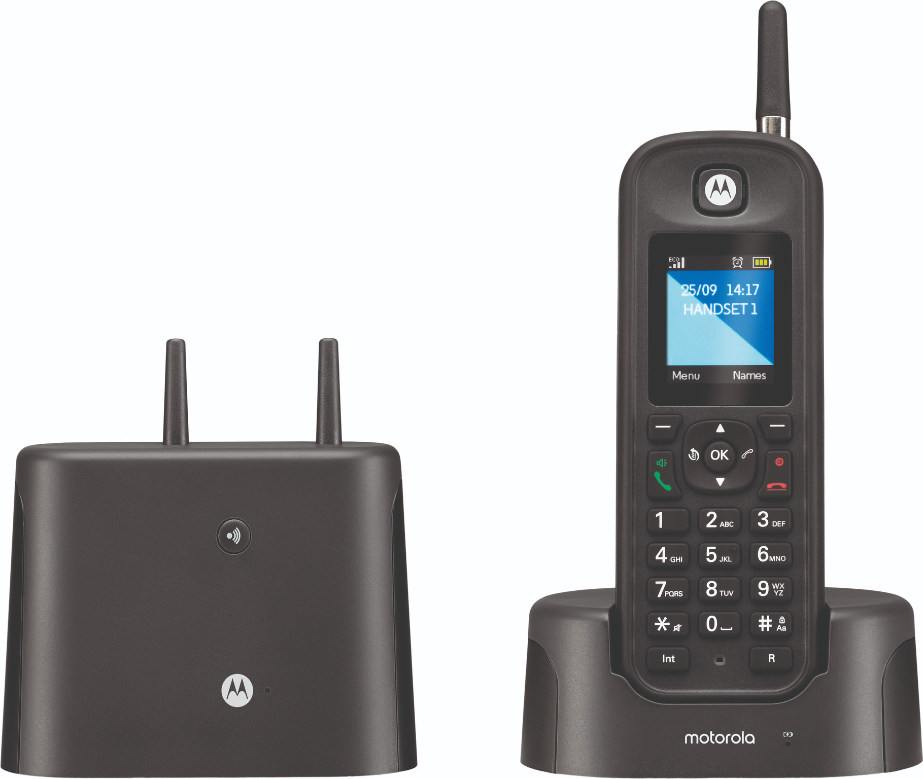 O211, dect outdoor single handset answering machine, black