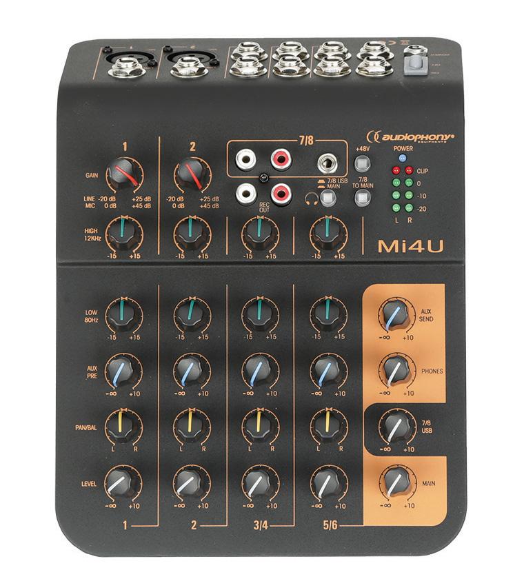 Mi4U, mixer 4 channels, 2 mic + 2 stereo, 1 aux + USB