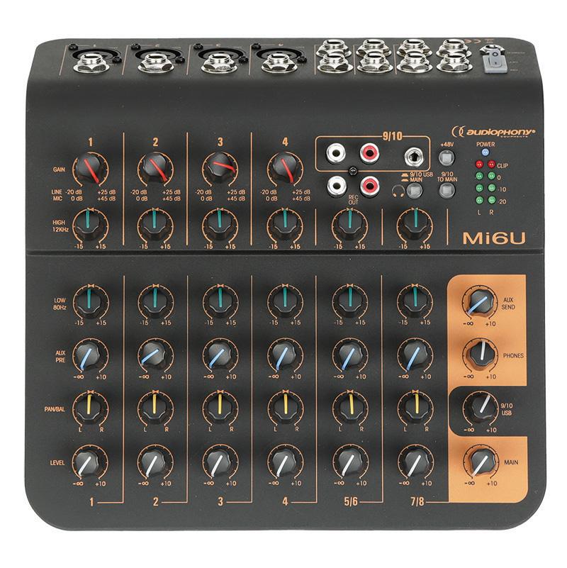 Mi6U, mixer 6 channels, 4 mic + 2 stereo, 1 aux + USB