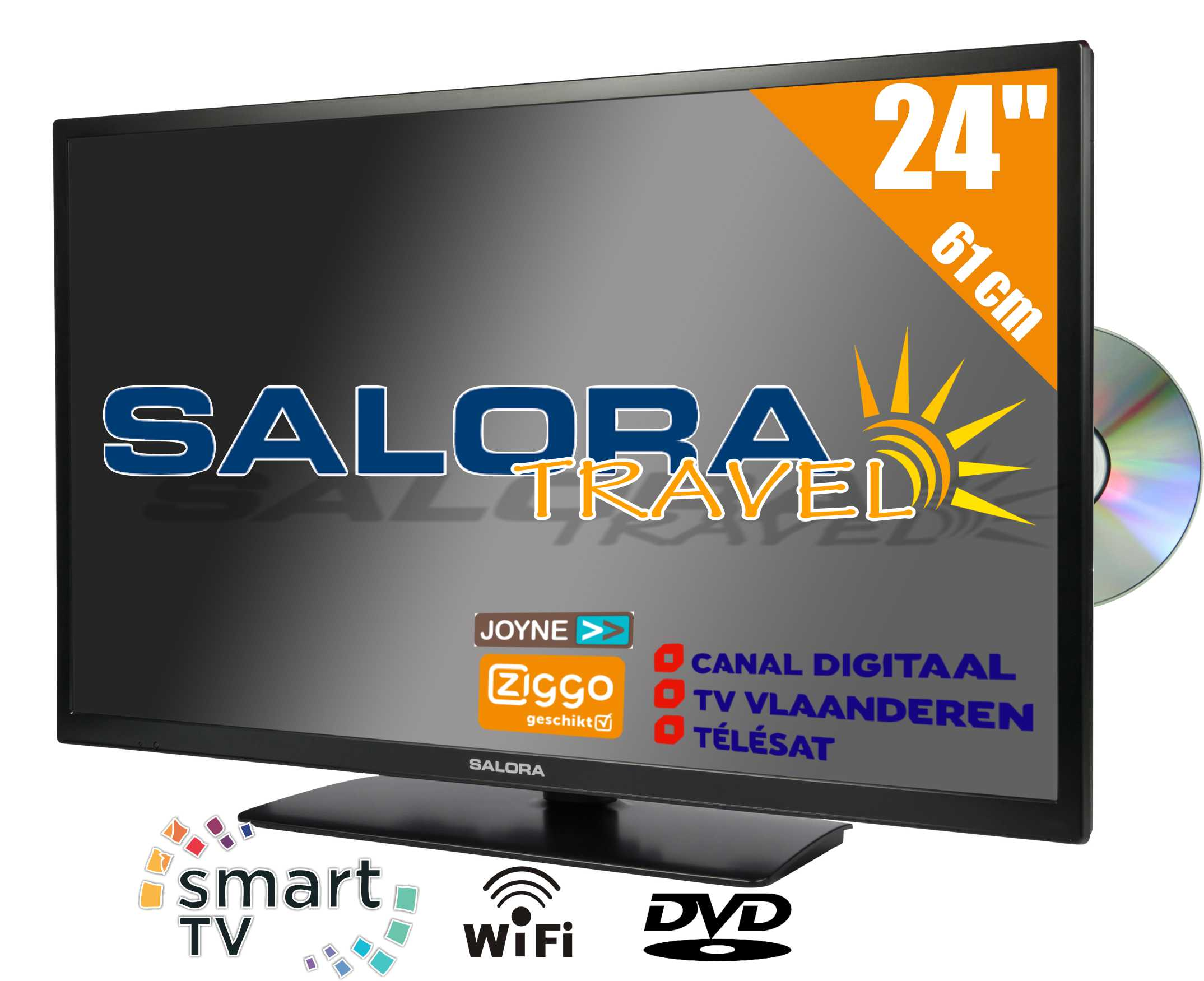 "24LED9109CTS2DVDWIFI, 24""/60 cm travel TV 12/230 Volt Smart Wifi DVD, black"
