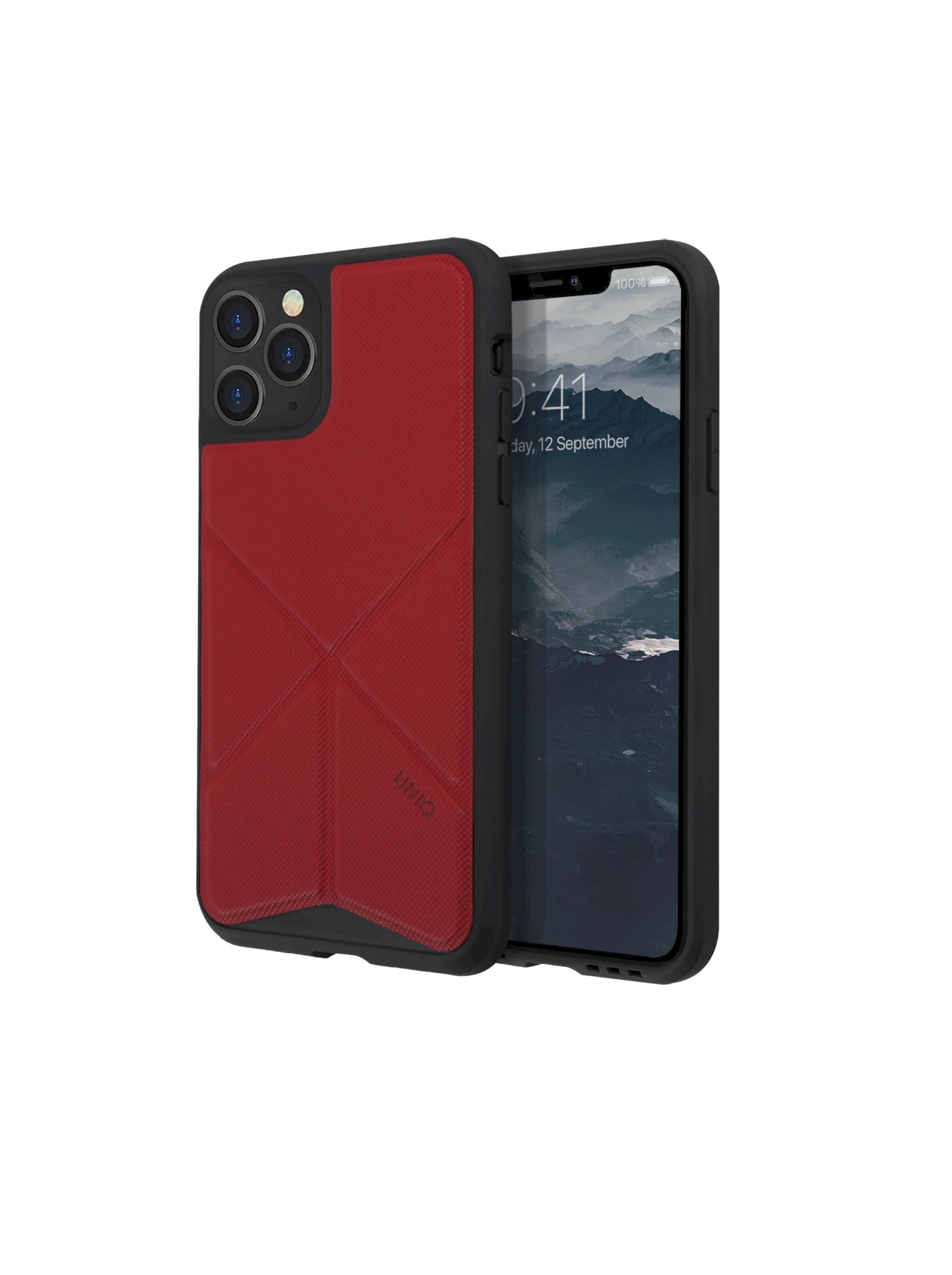 iPhone 11 Pro, case transforma, stand up fury racer, red