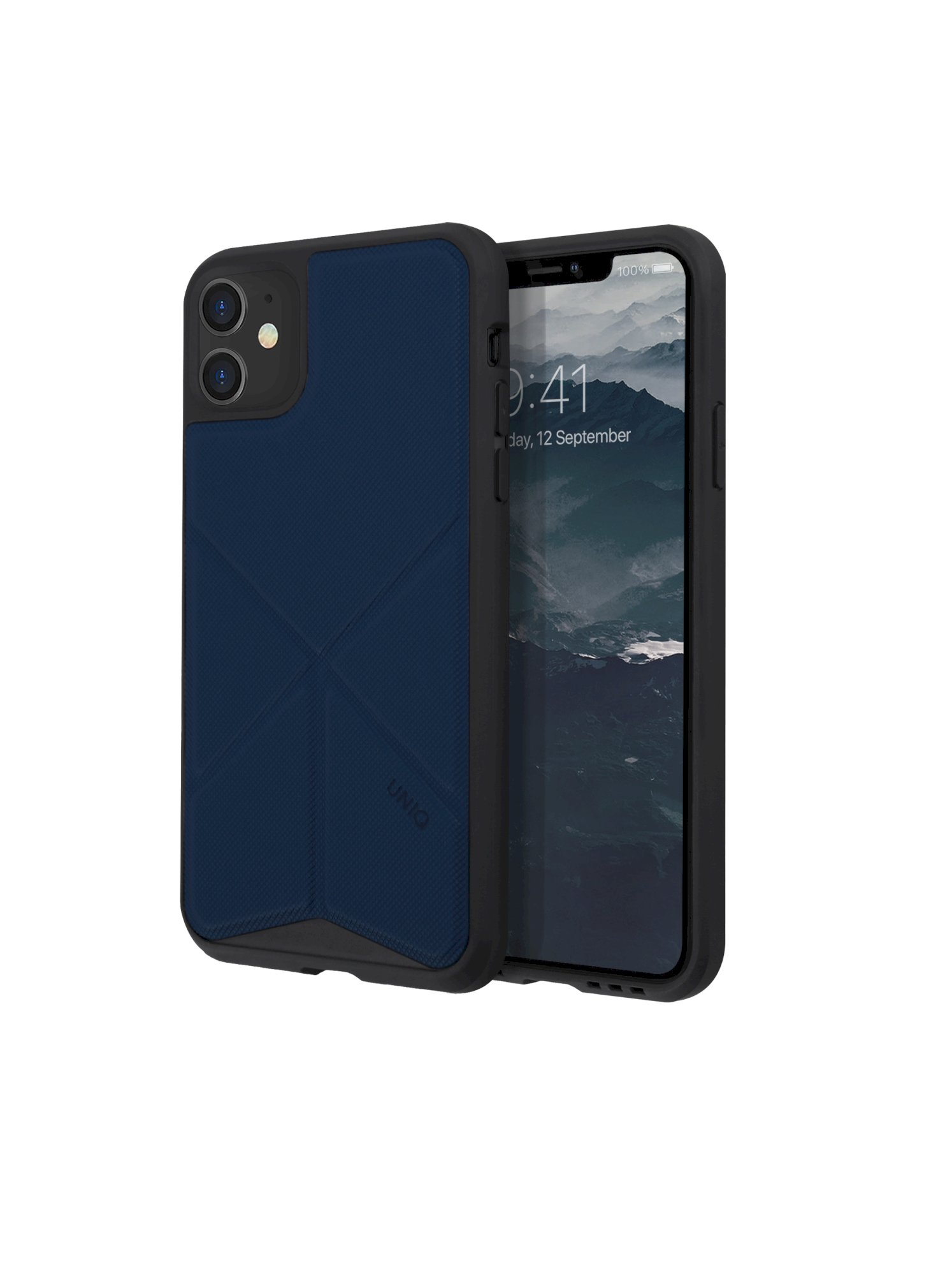 iPhone 11, case transforma, stand up navy panther, blue